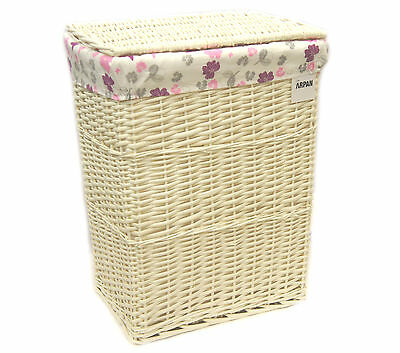 Arpan Large White Wicker Laundry Basket With Lining - Purple Butterfly 9358-LPE