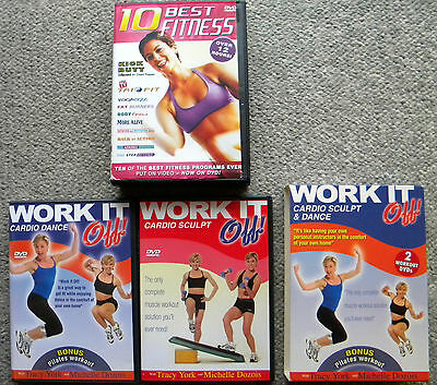 10 BEST FITNESS DVD Kick Butt/Yogacize/EXERCISE Work It Off LOSE Weight