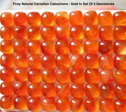Firey Natural Carnelian Gemstone Cabochon, 6mm Cushion Square Cabochons, 4 Gems