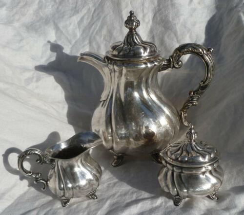 835 Silver Coffee/Tea Pot Cream Sugar Bruckmann Germany