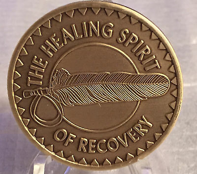 Healing Spirit of Recovery Medallion Chip Coin AA NA Great Spirit Prayer Bronze