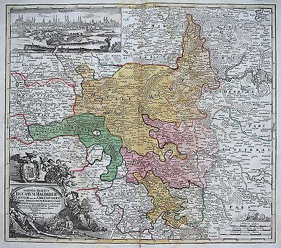 Homann: Original altkol. Kupferstich Landkarte Magdeburg Saalekreis Anhalt; 1728