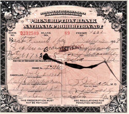 Prohibition Prescription Whiskey Antique Pharmacy Doctor Bar Easton PA 7/2 1928