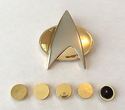 Star Trek Next Generation Communicator Pin + Rank Pin Set
