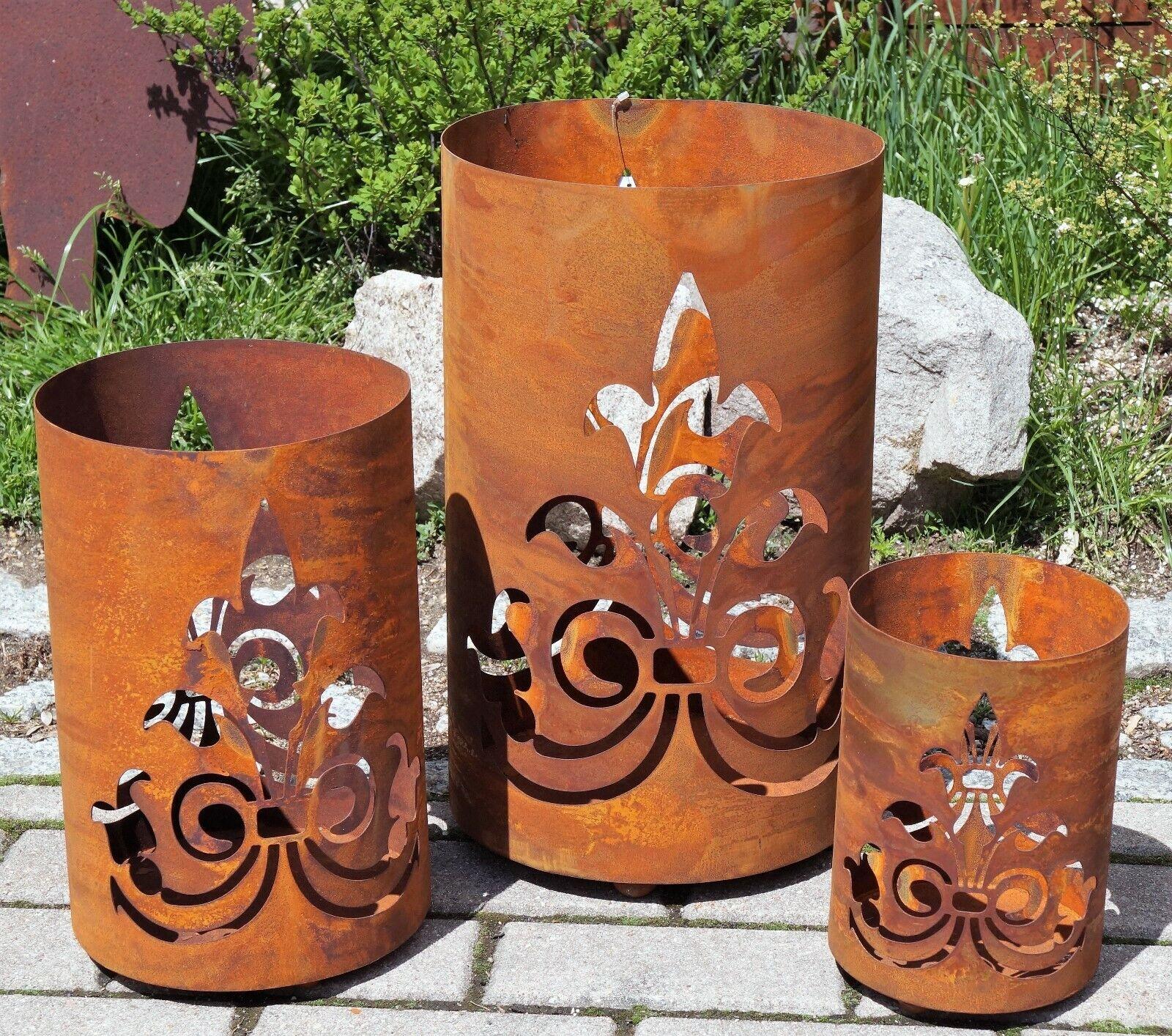 Edelrost Windlicht Lilie in 3 Größen Garten Dekoration Laterne Tischdeko