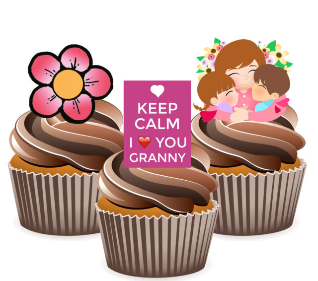 Keep Calm I Love You Granny Mix 12 Edible Cup Cake Toppers Birthday Mother's Day