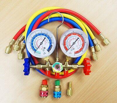 R12 R22 R134a R404a Manifold Gauge Set 3 Gauge Hvac Ac Refrigeration Charging