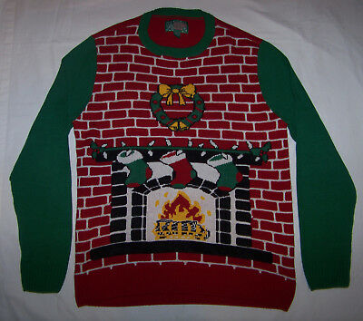 Ugly Christmas Sweater Fireplace & Stockings Size XL Extra Large ](Fireplace Sweater)