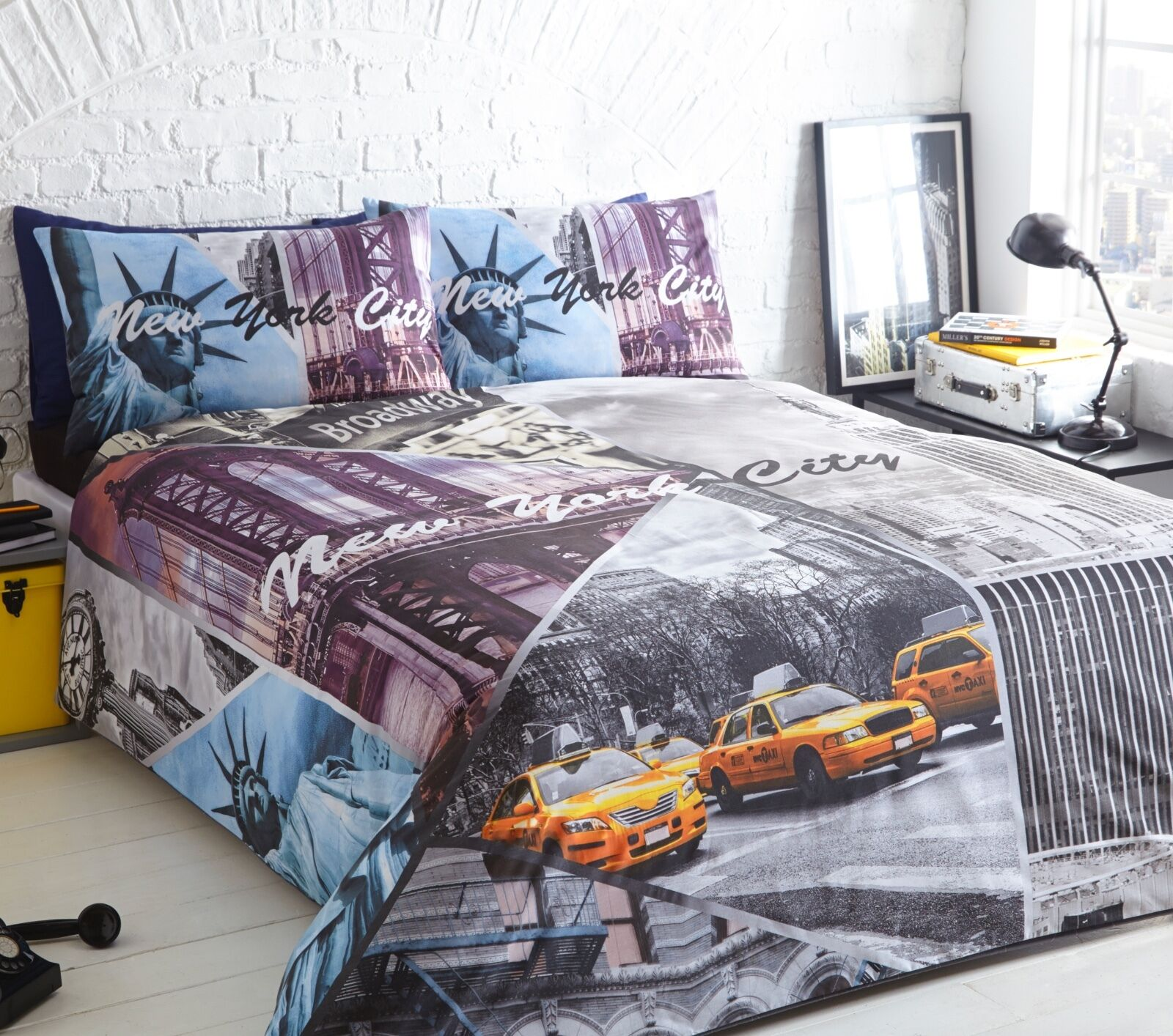 New York City Taxi Scene Printed Duvet Quilt Pillowcase Single Double King