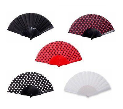 1 x Handfächer Fächer Taschenfächer Klappfächer schwarz Punkte Dots Kunststoff