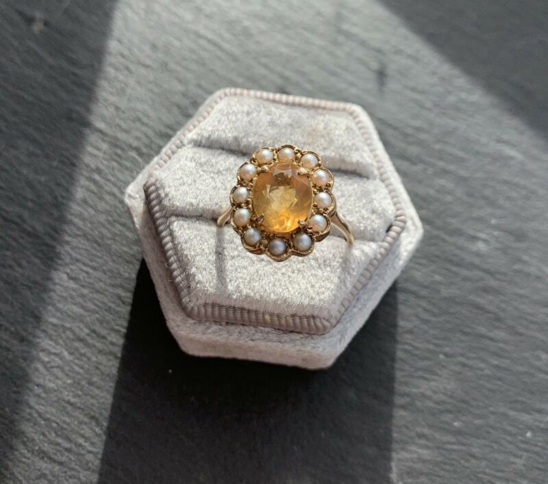 Antique 9ct Yellow Gold Citrine And Pearl Large Cluster Ring