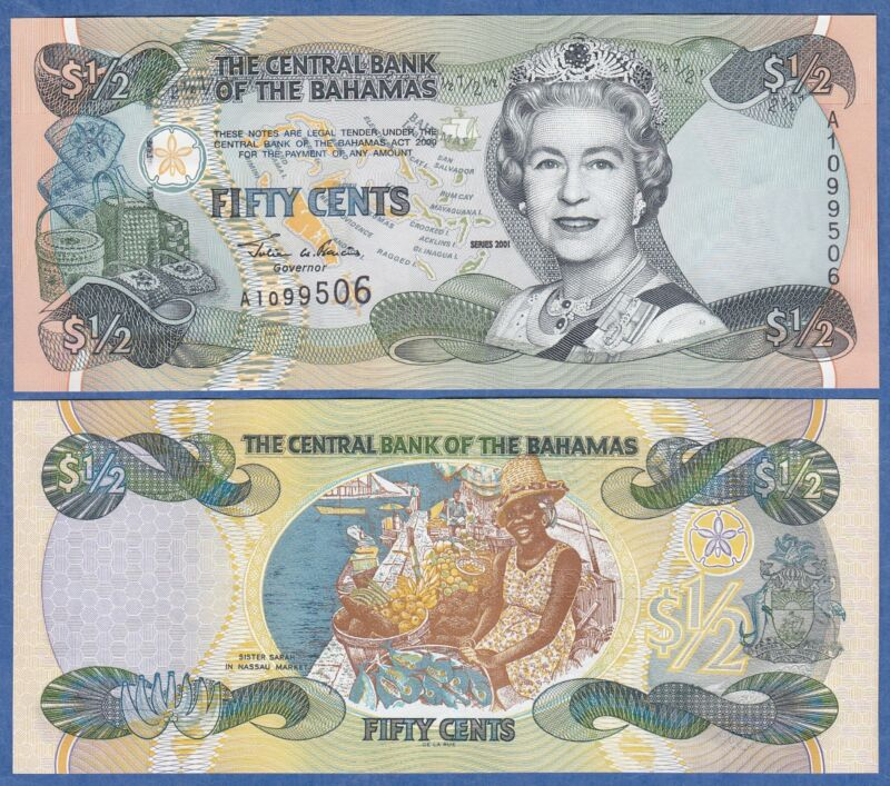 Bahamas 1/2 Dollar P 68 2001 UNC Low Shipping! Combine FREE!  (Half)