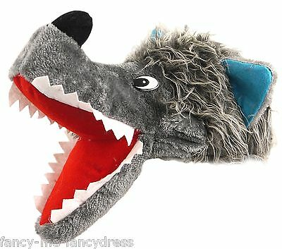 Mens Ladies Grey Big Bad Wolf Animal Dog Fancy Dress Costume Outfit Novelty Hat