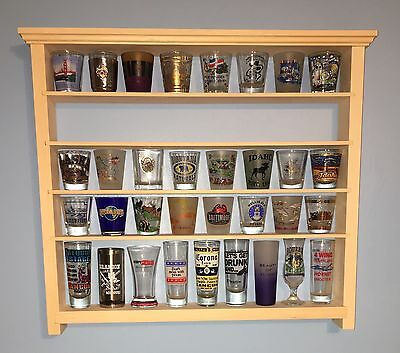 Shot Glass Display Case - 40 Shot Glass Wall Shelf Display Case Knick Knack Rack Solid Pine Ready 2 Finish
