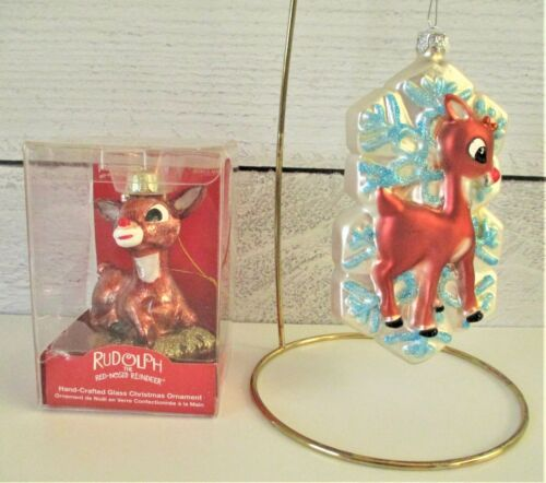 2 Rudolph the Red Nose Reindeer Blown Glass Christmas Ornament Snowflakes Adler
