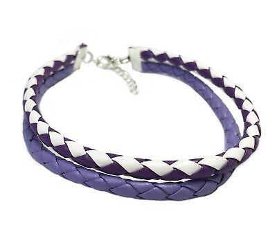 - Surf Anklet Double Plaited Leather Purple White Colour 26cm & 6 L Australia Made