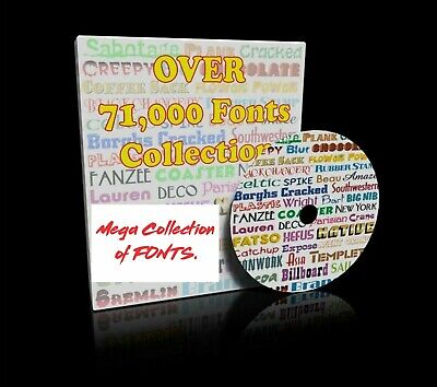 71000 Fonts Collection Software Cd Vinyl Cutter Plotter Vector Library True Type
