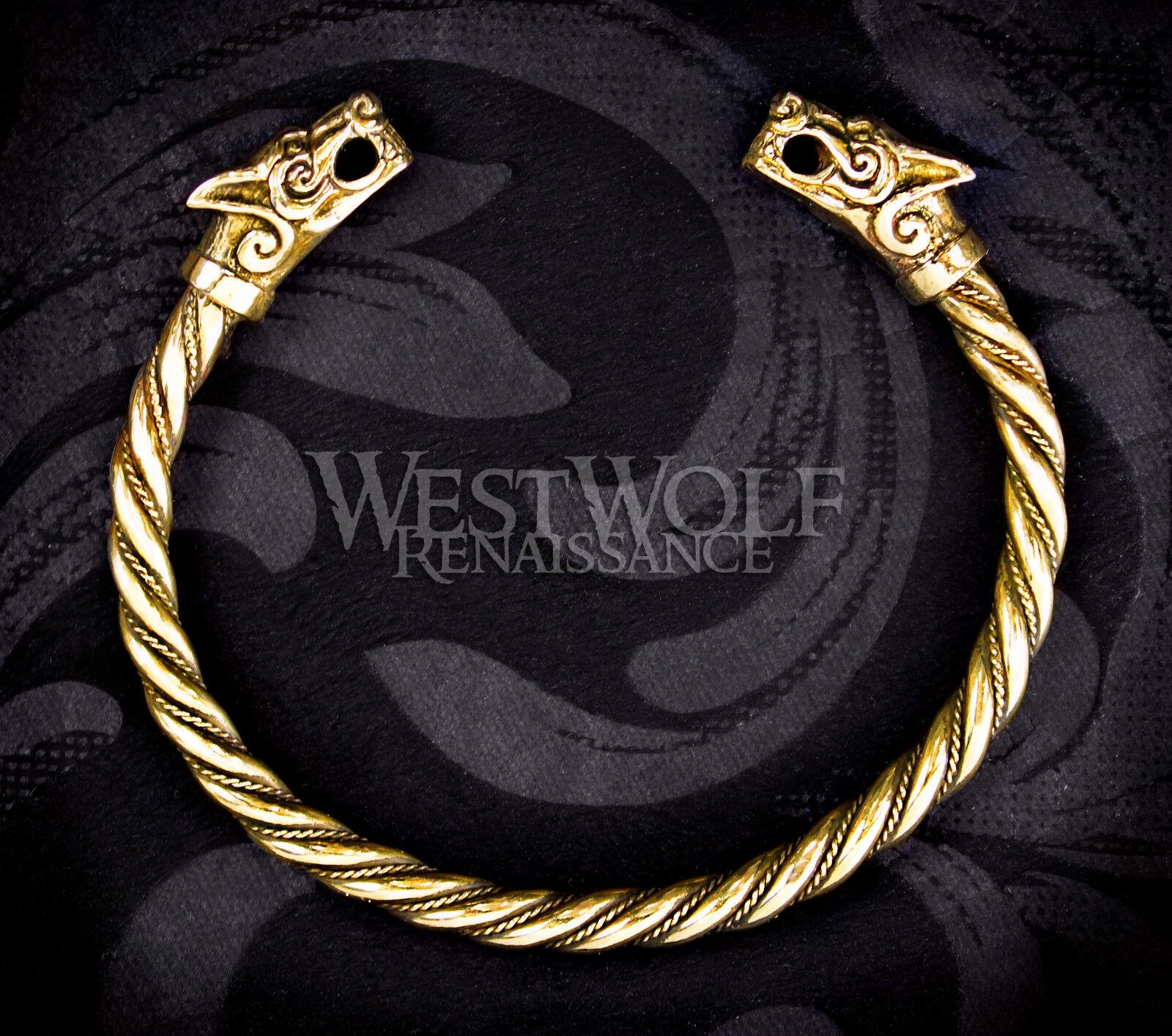 Viking Fenrir Wolf Bracelet/Torc/Torque --- Norse/Medieval/