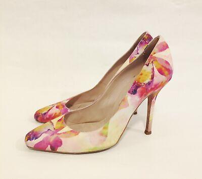 OSCAR DE LA RENTA Pink Floral Print Pumps Heels Shoes size 39 / 9 Made in Italy Floral Print Pumps