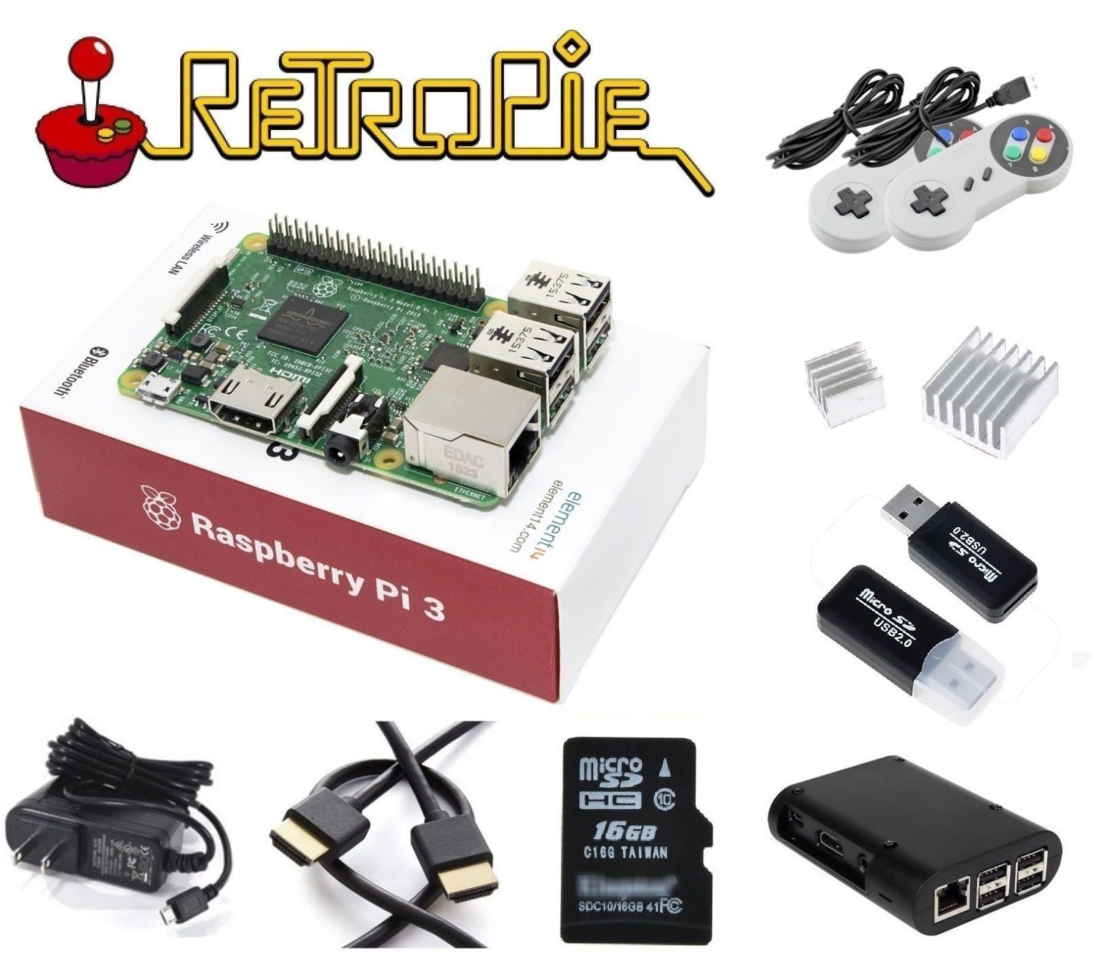 RASPBERRY PI 3 Model B RetroPie Game Console Kit, 2 Controle