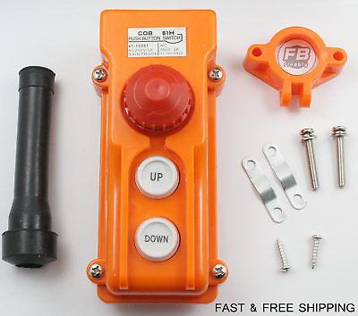 Crane Pendant Control Pushbutton Switch Hoist Station UpDown Rainproof Emergency