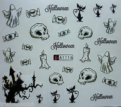 Nail Art Water Decals Stickers Halloween Skull Cat Ghost Tree Gel Polish - Halloween Tree Nail Art