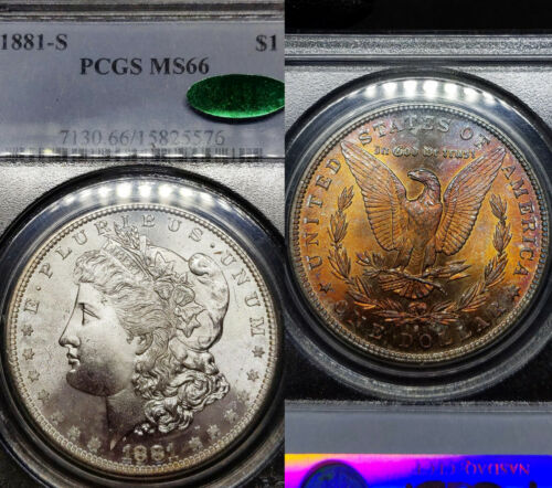 1881-S MS66 Morgan Silver Dollar $1, PCGS Graded & CAC, Fireball Toned Reverse!