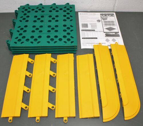 "Wearwell Interlock Drainage Mat 546, 27"" x 30"", Green with Yellow Beveled Border"