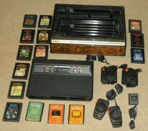 Working Atari 2600 Vader Console Lot Games Paddles Joysticks Storage Case Bundle