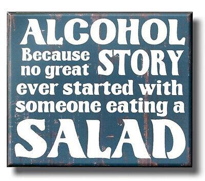 Alcohol Salad Funny Plaque Sign vintage style kitchen beer bar man cave gift