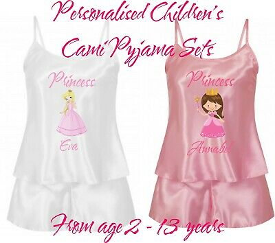 Personalisiert Kinder Cami Pyjama Shorts Nachtwäsche Set in 2 Farben Prinzessin