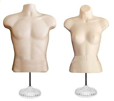 2 Mannequins 2 Stand 2 Hangers Male Female Flesh Form Displays Shirt Dress
