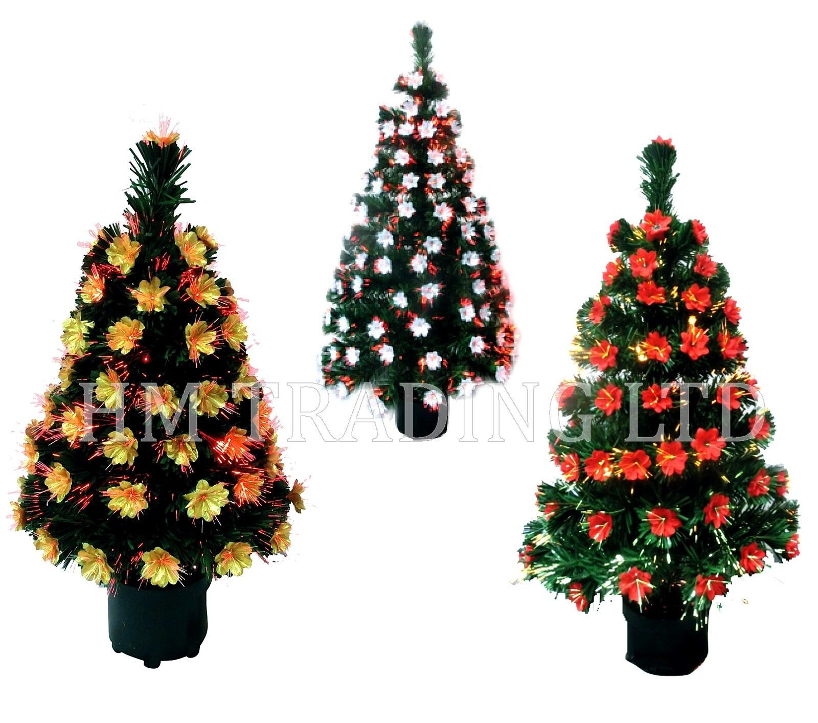 Multi Colour LED Changing Tips Light Up Xmas Fibre Optic Tree Indoor ...