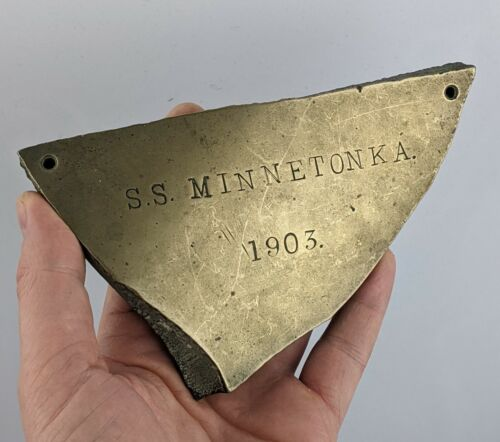 SS Minnetonka Ocean Liner Piece of Shrapnel dated 1903 - Possible Trench Art WW1