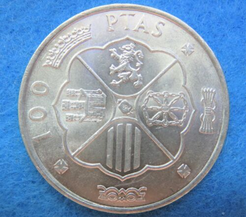 1966 Spain 100 Ptas Pesetas Francisco Franco Silver Coin HIGH GRADE  [91]