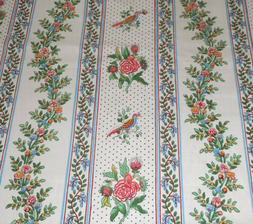 Antique French Folksy Bird Floral Roses  Cotton Fabric ~ Blue Pink Yellow Green