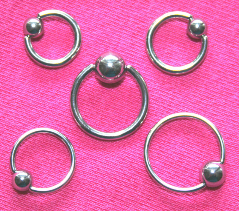 5 x MIXED CAPTIVE BEAD RINGS BULK WHOLESALE BODY PIERCING CBR BCR 14g 16g