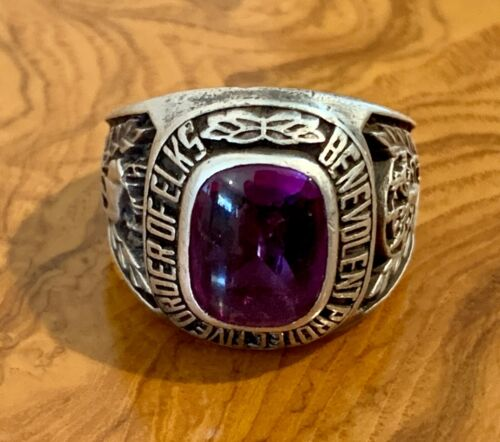 Vintage Sterling Silver BPOE Elks Lodge Ring - Size 11 1/4 - FREE SHIPPING