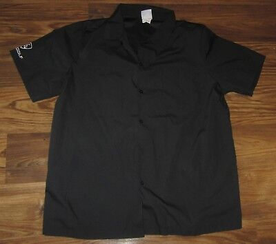 Top Golf Mens Button Front Short Sleeve Shirt  Black  Size M  Euc