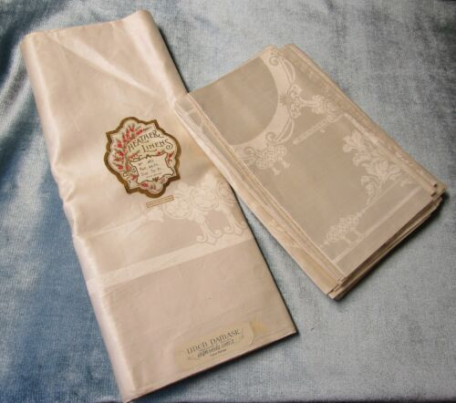 Antique HEATHER LINENS Tablecloth & 11 Napkins Morning Glory Florals Never Used