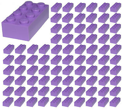 ☀️100 NEW LEGO 2x4 MEDIUM PURPLE Bricks (ID 3001) BULK Parts star wars city town