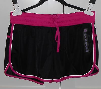 WOMEN'S MADE FOR LIFE BLACK AND PINK RUNNING SHORTS - SIZE LARGE PETITE