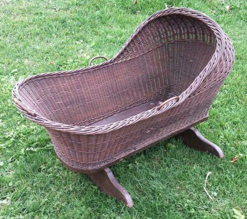 Antique Wicker Baby Cradle 1800