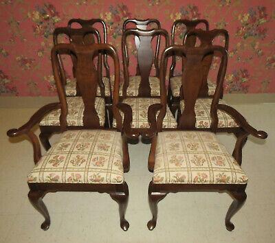 - Ethan Allen Georgian Court Set of 8 Cherry Queen Anne 6 Side2 Arm Chairs 11 6211