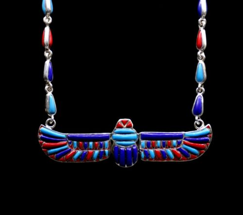Rare EGYPTIAN ANTIQUES NECKLACE WINGED SCARAB Silver LAPIS LAZULI AGAT STONE BC