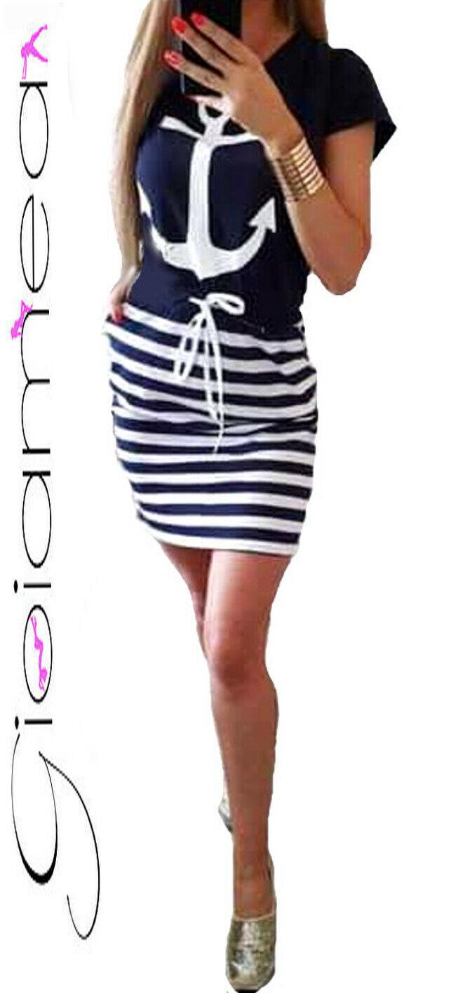 Vestito Donna Mini Abito Copri costume Ancora Moda Mare Marinaia Spiaggia Casual