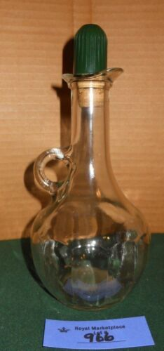 Vintage Glass Oil Vinegar Cruet Bottle ART DECO Stopper