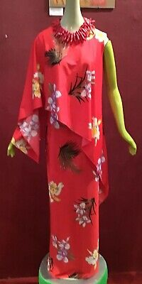 Clothes Of The 60s (Vintage 60's 70's Hawaiian Maxi Dress Floral Print Of The Shoulder Sun)