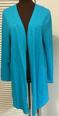 CHICO'S The Ultimate Tee Turquoise  Long Cardigan Open Front Jacket Size 1