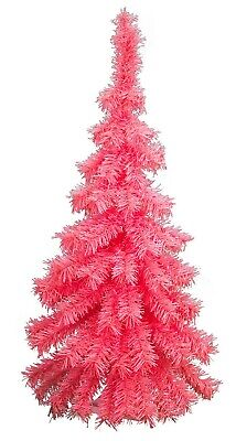 3FT Pink Hanging Wall Valentine's Tree Classic Pink Tinsel Tree Lays Flat - 36''